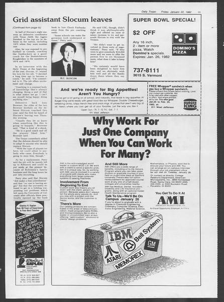 Daily Trojan, Vol. 91, No. 9, January 22, 1982