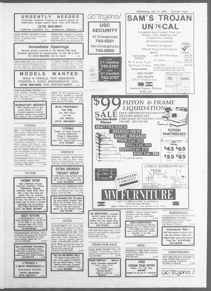 Summer Trojan, Vol. 109, No. 10, July 19, 1989