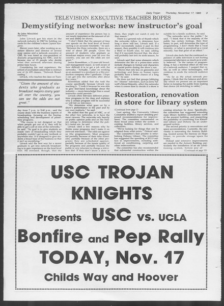 Daily Trojan, Vol. 94, No. 52, November 17, 1983