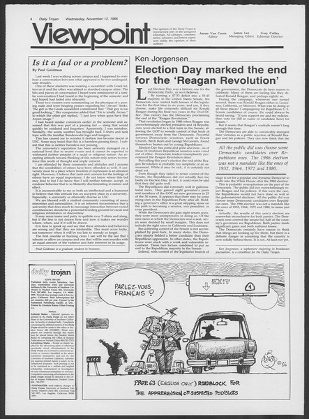 Daily Trojan, Vol. 102, No. 51, November 12, 1986