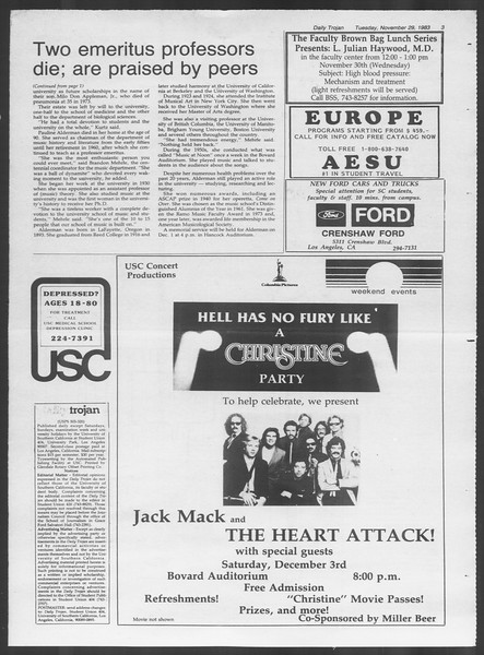 Daily Trojan, Vol. 94, No. 57, November 29, 1983