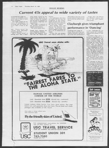 Daily Trojan, Vol. 91, No. 45, March 18, 1982