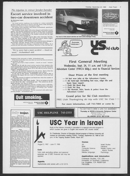 Daily Trojan, Vol. 102, No. 16, September 23, 1986