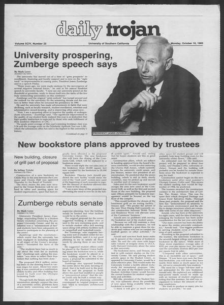 Daily Trojan, Vol. 94, No. 25, October 10, 1983