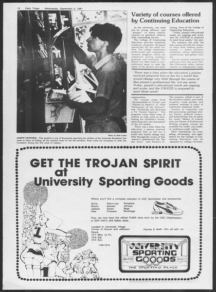 Daily Trojan, Vol. 91, No. 3, September 02, 1981