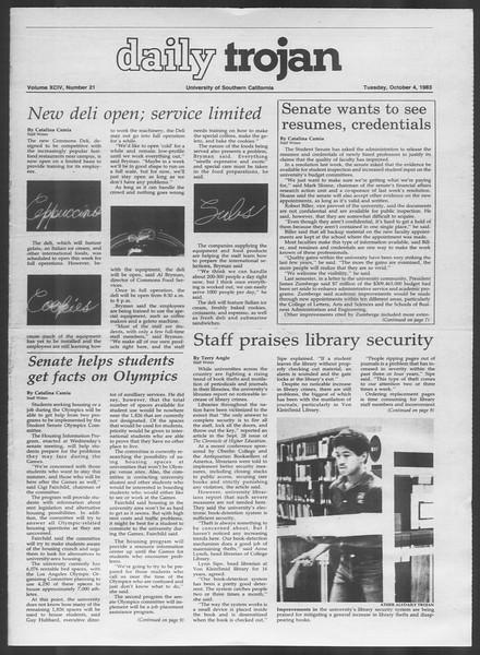 Daily Trojan, Vol. 94, No. 21, October 04, 1983