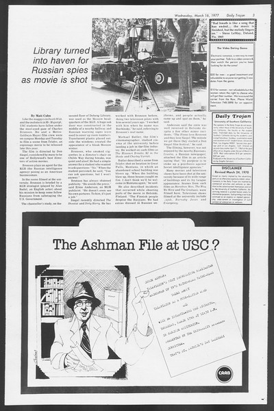 Daily Trojan, Vol. 71, No. 25, March 16, 1977