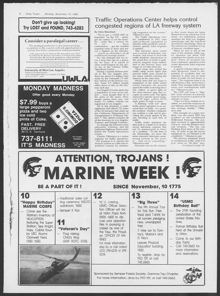Daily Trojan, Vol. 102, No. 49, November 10, 1986