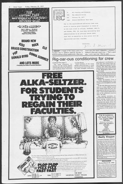 Daily Trojan, Vol. 71, No. 9, February 18, 1977