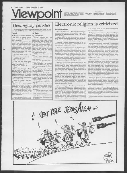 Daily Trojan, Vol. 94, No. 60, December 02, 1983