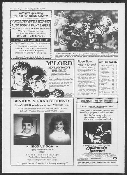 Daily Trojan, Vol. 102, No. 32, October 15, 1986