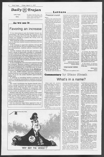 Daily Trojan, Vol. 71, No. 22, March 11, 1977