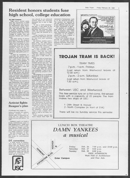 Daily Trojan, Vol. 91, No. 31, February 26, 1982