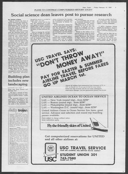 Daily Trojan, Vol. 91, No. 26, February 19, 1982