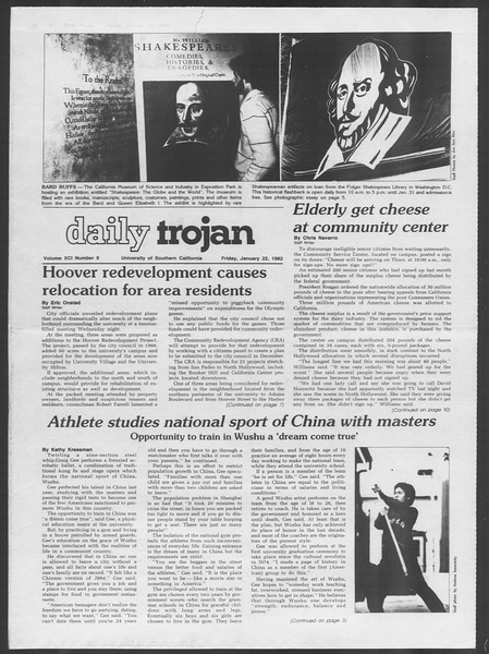 Daily Trojan, Vol. 91, No. 9, January 22, 1982