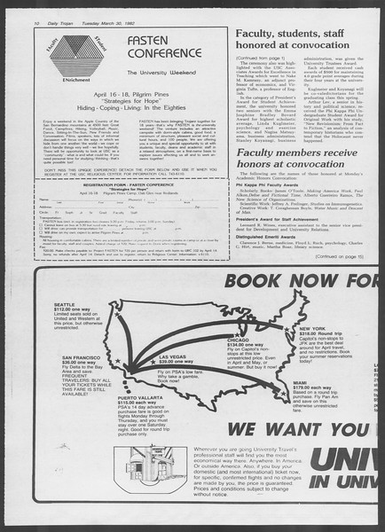 Daily Trojan, Vol. 91, No. 53, March 30, 1982