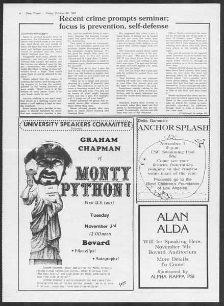 Daily Trojan, Vol. 91, No. 42, October 30, 1981