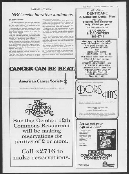 Daily Trojan, Vol. 91, No. 34, October 20, 1981