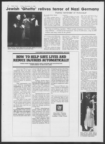 Daily Trojan, Vol. 102, No. 53, November 14, 1986