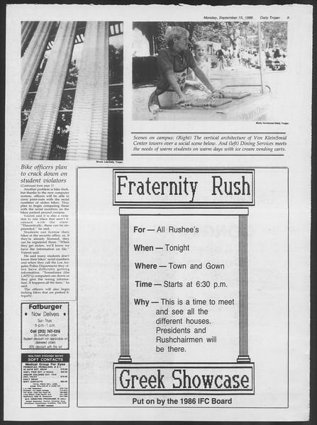 Daily Trojan, Vol. 102, No. 10, September 15, 1986
