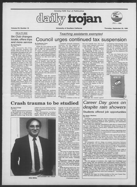 Daily Trojan, Vol. 102, No. 18, September 25, 1986