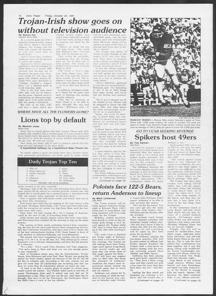 Daily Trojan, Vol. 91, No. 37, October 23, 1981