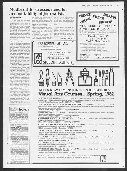 Daily Trojan, Vol. 91, No. 53, November 16, 1981