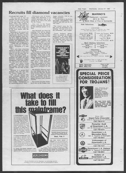 Daily Trojan, Vol. 91, No. 12, January 27, 1982