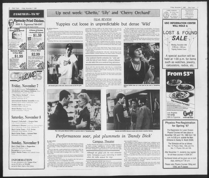 Daily Trojan, Vol. 102, No. 48, November 07, 1986