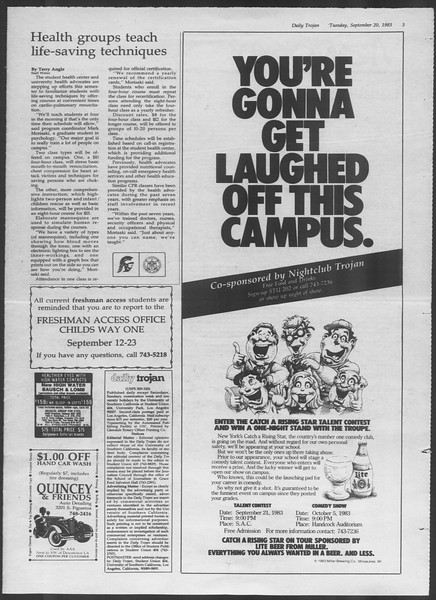 Daily Trojan, Vol. 94, No. 11, September 20, 1983