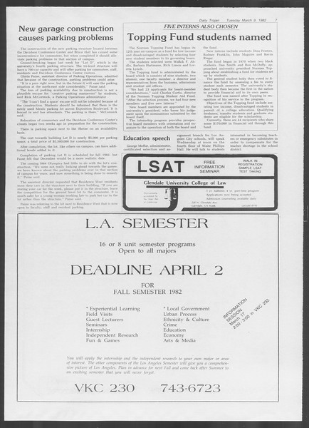 Daily Trojan, Vol. 91, No. 38, March 09, 1982
