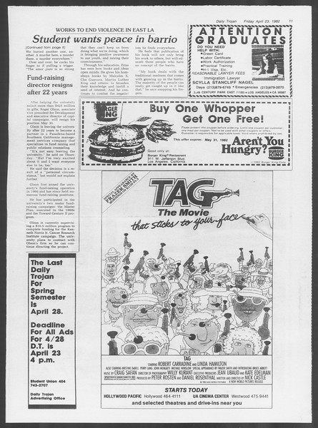 Daily Trojan, Vol. 91, No. 65, April 23, 1982