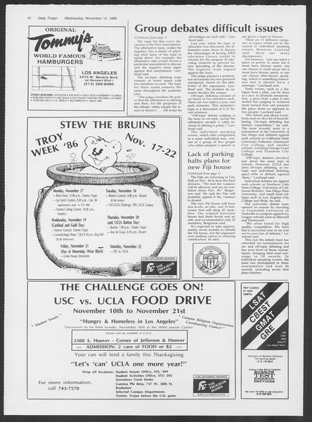 Daily Trojan, Vol. 102, No. 51, November 12, 1986