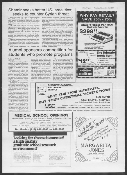 Daily Trojan, Vol. 94, No. 57, November 29, 1983