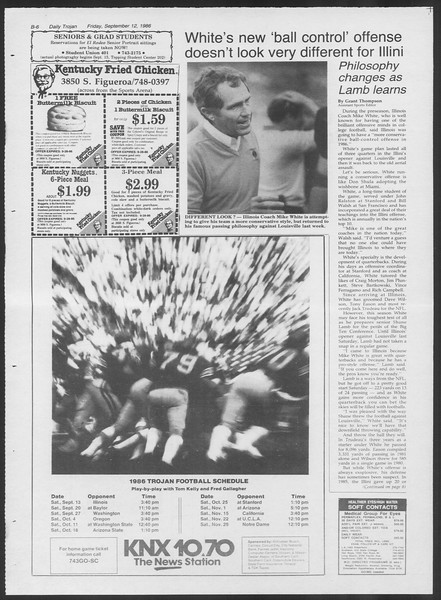 Daily Trojan, Vol. 102, No. 9, September 12, 1986