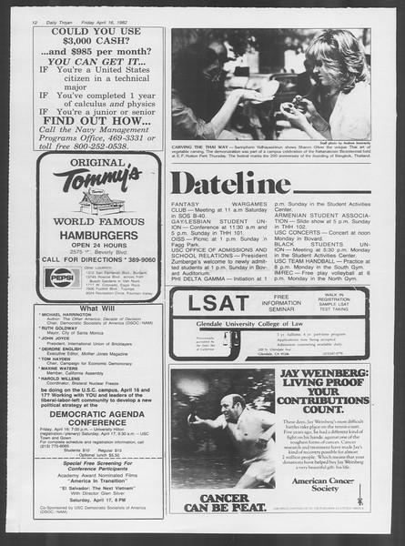 Daily Trojan, Vol. 91, No. 60, April 16, 1982