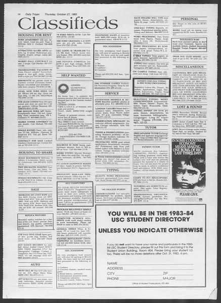 Daily Trojan, Vol. 94, No. 38, October 27, 1983