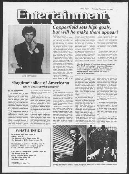 Daily Trojan, Vol. 91, No. 55, November 19, 1981