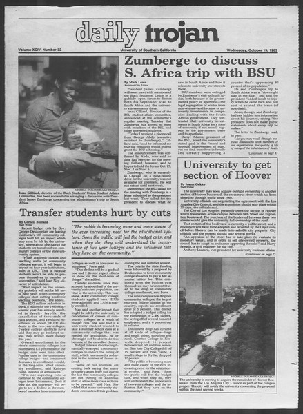 Daily Trojan, Vol. 94, No. 32, October 19, 1983