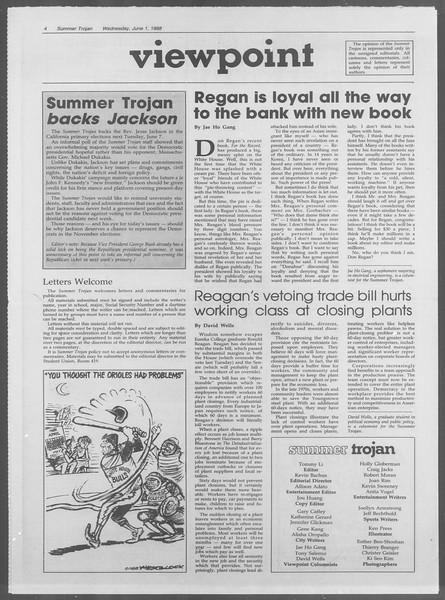 Summer Trojan, Vol. 107, No. 4, June 01, 1988