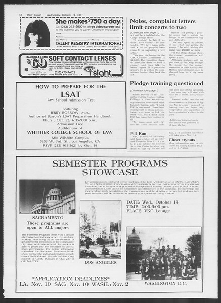 Daily Trojan, Vol. 91, No. 30, October 14, 1981