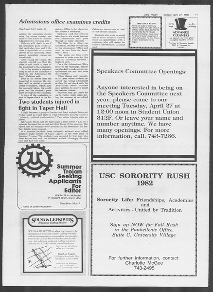 Daily Trojan, Vol. 91, No. 67, April 27, 1982