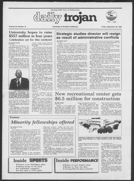 Daily Trojan, Vol. 102, No. 19, September 26, 1986