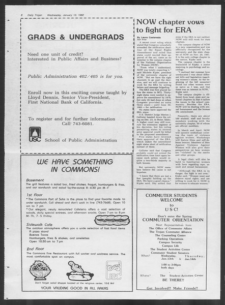 Daily Trojan, Vol. 91, No. 2, January 13, 1982