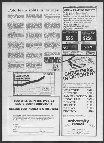 Daily Trojan, Vol. 94, No. 31, October 18, 1983