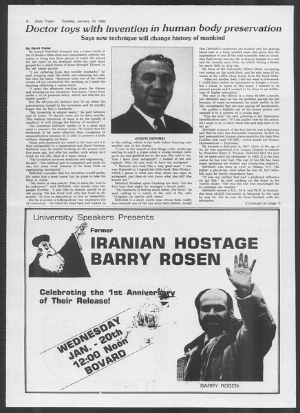 Daily Trojan, Vol. 91, No. 6, January 19, 1982
