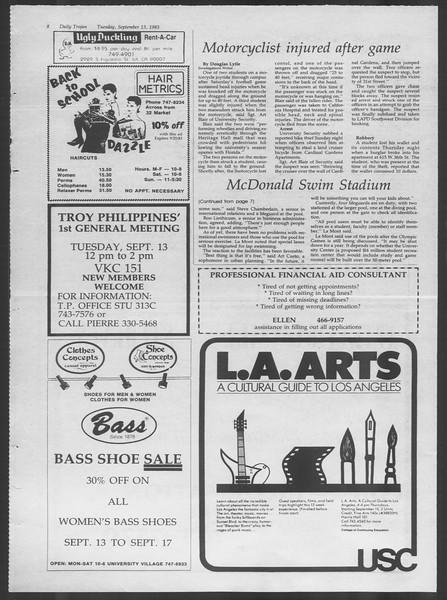 Daily Trojan, Vol. 94, No. 6, September 13, 1983