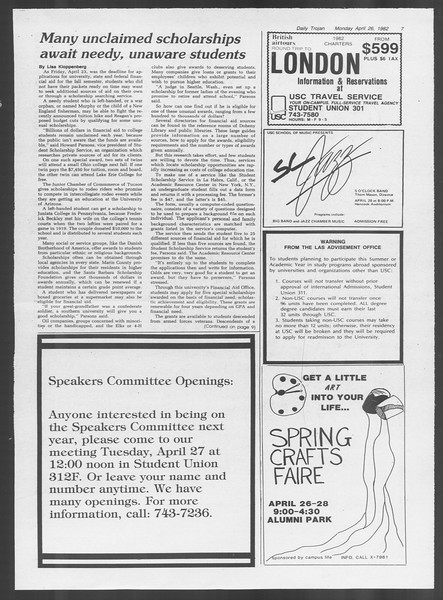Daily Trojan, Vol. 91, No. 66, April 26, 1982