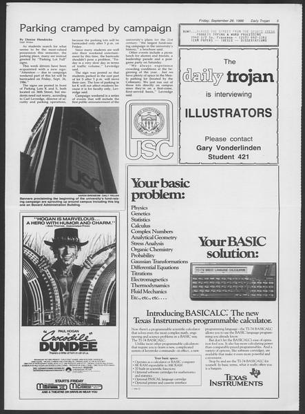 Daily Trojan, Vol. 102, No. 19, September 26, 1986