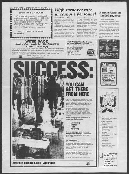 Daily Trojan, Vol. 91, No. 12, January 27, 1982